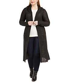 Plus Size Pointelle-Knit Duster Cardigan