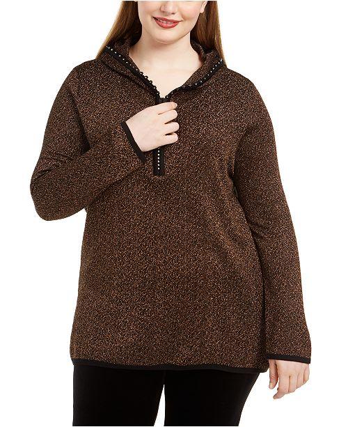 Belldini Plus Size Metallic-Knit Hoodie Sweater