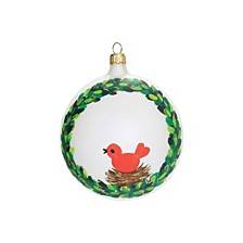 Wreath With Red Bird Ornament