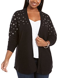 Plus Size Grommet-Hardware Open-Front Cardigan