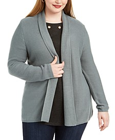 Plus Size Mixed-Knit Cardigan