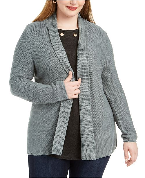 Belldini Plus Size Mixed-Knit Cardigan