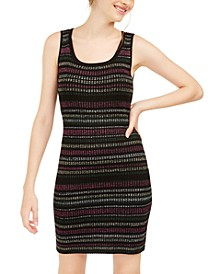 Derek Heart Juniors' Metallic-Stripe Sweater Dress