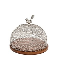 Godinger Wood Nest Tray with Nickle Finish Dome