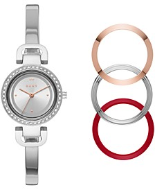 Women's City Link Stainless Steel Bangle Bracelet Watch 27mm Gift Set