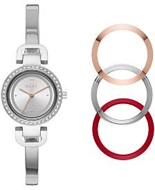 DKNY Women's City Link Stainless Steel Bangle Bracelet Watch 27mm Gift Set