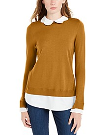 Scalloped-Neck Layered-Look Sweater, Created For Macy's