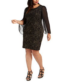 Connected Plus Size Glitter Sheath Dress