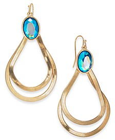 Gold-Tone Stone Double Teardrop Earrings, Created For Macy's