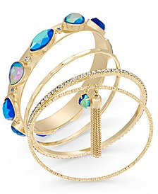 Gold-Tone 5-Pc. Set Crystal, Stone & Tassel Bangle Bracelets, Created For Macy's