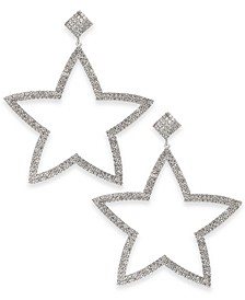 Silver-Tone Pavé Star Drop Earrings, Created For Macy's