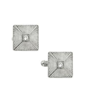 1928 Jewelry Silver-Tone Crystal Square Cufflinks