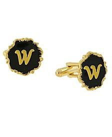 Jewelry 14K Gold-Plated Enamel Initial W Cufflinks