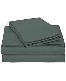University 6 Piece Gray Solid Queen Sheet Set