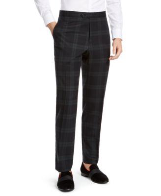 Men's Modern-Fit THFlex Stretch Green/Navy Blue Plaid Suit Pants