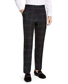 Men's Modern-Fit THFlex Stretch Green/Navy Blue Plaid Suit Pants