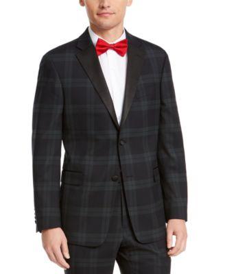 Men's Modern-Fit THFlex Stretch Green/Navy Blue Plaid Suit Jacket