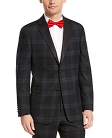 Men's Modern-Fit THFlex Stretch Green/Navy Blue Plaid Suit Jacket