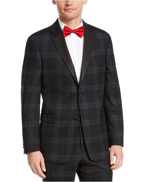 Tommy Hilfiger Men's Modern-Fit THFlex Stretch Green/Navy Blue Plaid Suit Jacket