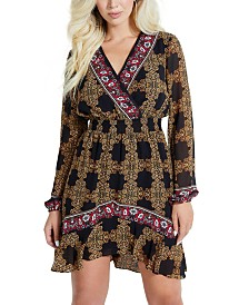 GUESS Olena Mixed-Print Smocked-Waist Dress