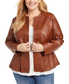 INC Plus Size Faux-Leather Peplum Jacket, Created For Macy's