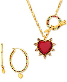 "Gold-Tone Multicolor Crystal Heart 27"" Pendant Necklace & Hoop Earring Gift Set"