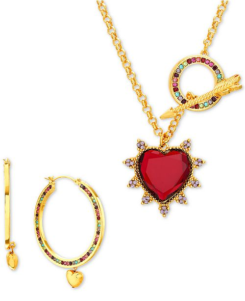 "Steve Madden Gold-Tone Multicolor Crystal Heart 27"" Pendant Necklace & Hoop Earring Gift Set"