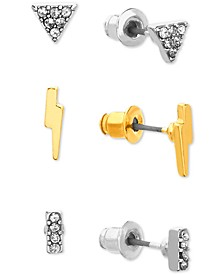 Two-Tone 3-Pc. Set Pavé Lightning Bolt Stud Earrings