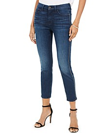 Metallic-Seam Skinny Jeans