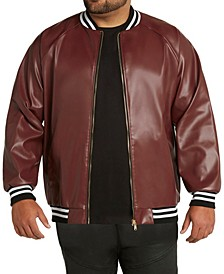 MVP Collections Men's Big & Tall Faux Leather Stripe Bomber Jacket