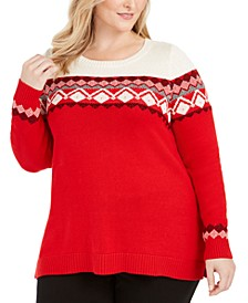 Plus Size Fair Isle-Yoke Sweater, Created for Macy's