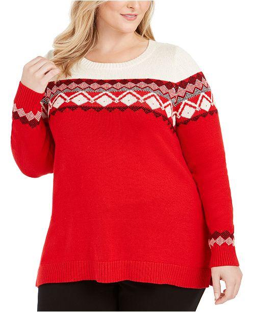 Charter Club Plus Size Fair Isle-Yoke Sweater, Created For Macy's