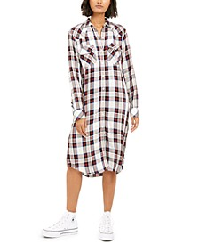 Women's Long Button-Up Plaid Shirt
