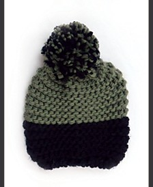 Colorblock Knit Beanie With Pom