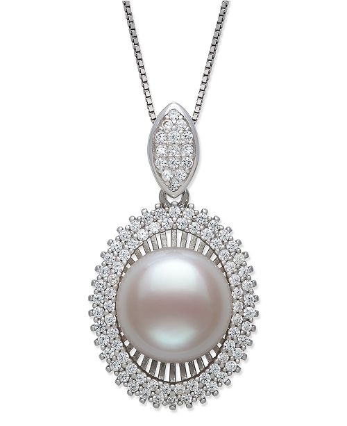 Macy's Cultured Freshwater Pearl (11-12 mm) and Cubic Zirconia Encrusted Pendant in Sterling Silver