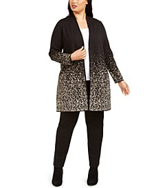 Plus Size Metallic-Print Open-Front Cardigan, Created For Macy's