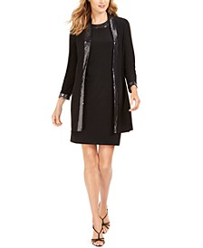 Embellished-Trim Shift Dress & Jacket