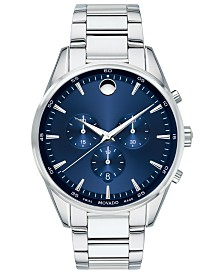 Movado Men's Swiss Chronograph Stratus Stainless Steel Bracelet Watch 42mm