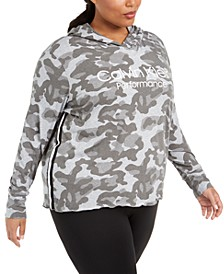 Plus Size Camouflage-Print Logo Hoodie