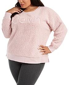 Plus Size Embroidered Sherpa Sweatshirt