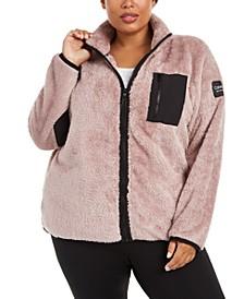 Plus Size Mock-Neck Sherpa Jacket