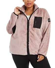 Calvin Klein Plus Size Mock-Neck Sherpa Jacket