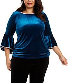 Plus Size Velvet Bell-Sleeve Top