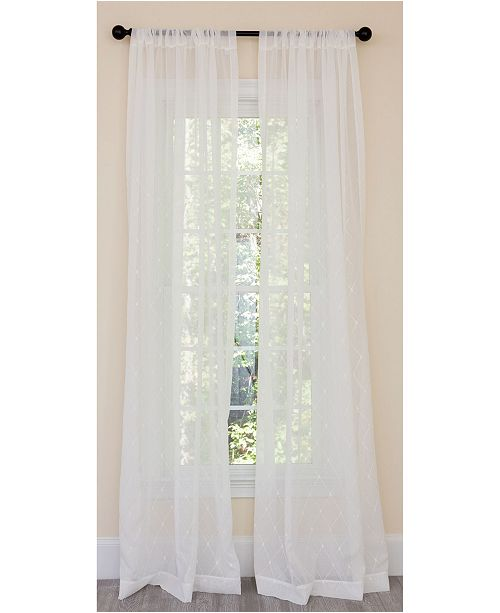 Manor Luxe Bonita Diamond Embroidered Sheer Rod Pocket Curtain Collection