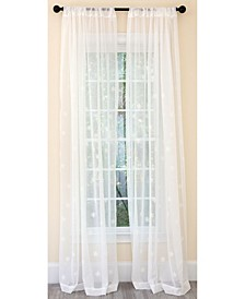 Falling Snowflake Embroidered Sheer Rod Pocket Curtain Collection