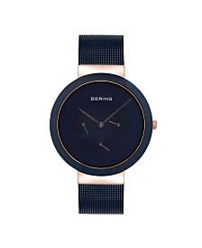 Bering Men's Multi-Function Blue Stainless Steel Mesh Bracelet Watch 40mm