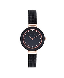 Women's Ceramic Crystal Black Stainless Steel Mesh Bracelet Watch 29mm