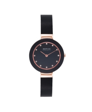 Women's Ceramic Crystal Black Stainless Steel Mesh Bracelet Watch 29mm