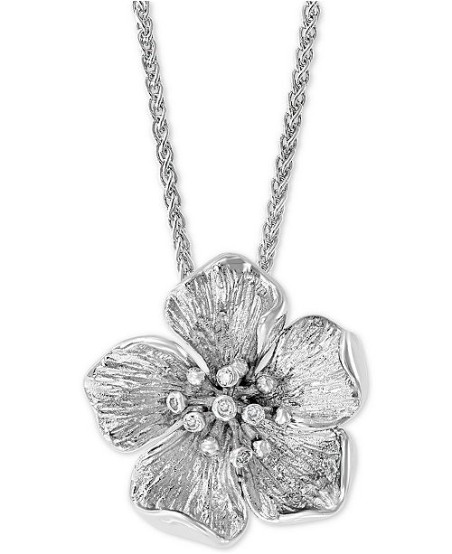 """EFFY Collection EFFY® Diamond Accent Flower 18"""" Pendant Necklace in Sterling Silver"""