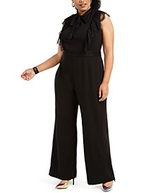 Trendy Plus Size Lace-Trim Jumpsuit